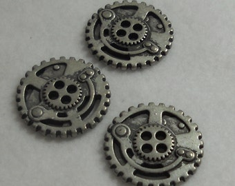 Steampunk Buttons - Metal, Antique Silver - Gears - 3 PC Set, Large - Steam Punk, Industrial, Post-Apocalyptic Fantasy Buttons
