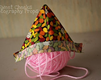 Thanksgiving Fall Autumn Leaves Pumpkins with Text Fabric Newspaper Sailor Pirate Boat Hat Newborn Baby Boy or Girl Infant Photography Prop