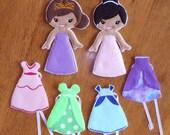 In The Hoop Felt Princess Dress Up Doll Embroidery Design Set