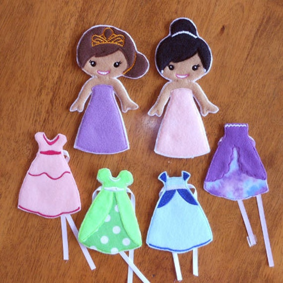 In the hoop felt princess dress up doll embroidery design set for Felt dress up doll template