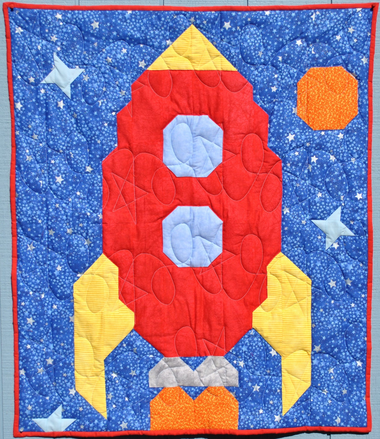 Rocket baby quilt pattern pdf from countedquilts on etsy for Outer space quilt patterns