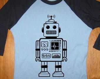 Robot Shirt - Kids Shirt - Retro Robot Kids T Shirt - Raglan Tee Shirt - Geek Shirt - Sizes 2T, 4T, 6,  - Gift Friendly
