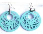Turquoise Wooden Leaf Pattern Dangle Earrings Cut Out Wood Filigree Eco Friendly