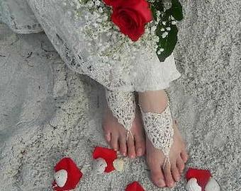 Bridal Barefoot Sandals, Vintage Bride, Wedding Sandal, Feet Jewelry, Beach Wedding, Barefoot Bridesmaids, Seaside Wedding