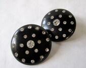 fantastic 50's black earrings with rhinestones