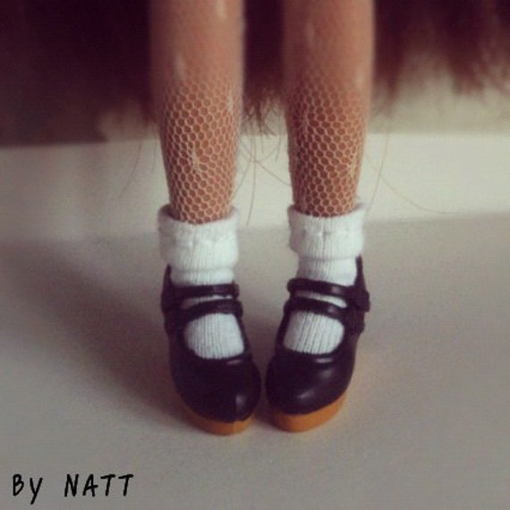Blythe Doll Shoes/Black Light Brown  Mary Jane shoes