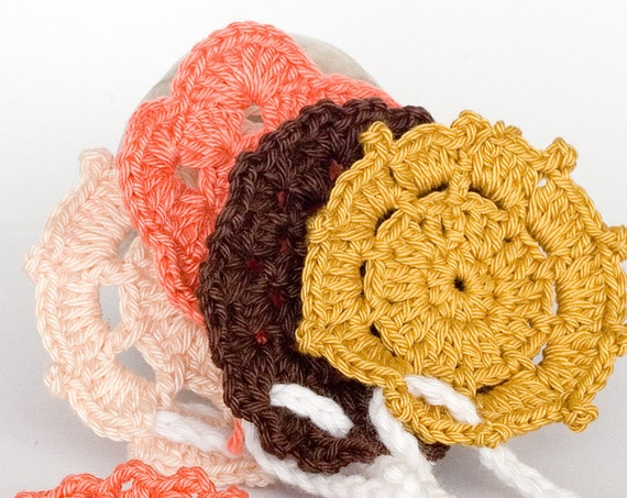 Crochet garland bunting, folk flower garland bunting, baby room decor, wedding garland nursery decor coral brown chocolate beige gold