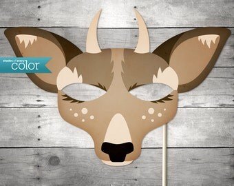 DIY Printable Spike Horn Deer Mask - Halloween, Birthdays, masquerade ball, mardi gras, and weddings