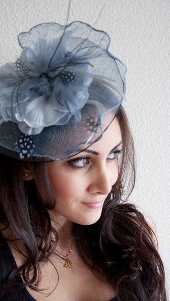 KATE Blue Gray Couture English Hat Fascinator Headband for weddings, parties, special occasions