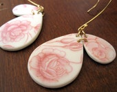 Classic Rose Double Drop Earrings - Reycled China - Material and Movement