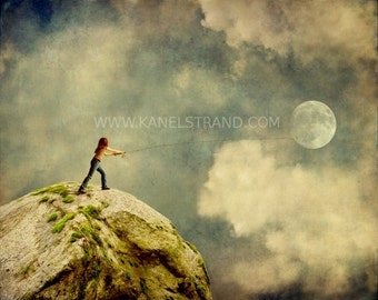 Whimsical art for children, gone fishing, surreal moon art, fantasy art photo prints