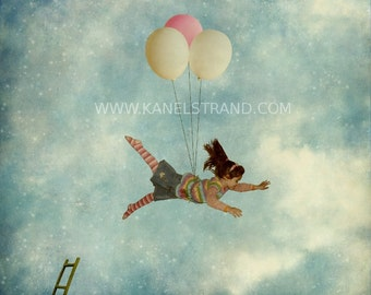 Naive fantasy print, girl with balloons, learning to fly, surreal photography, nursery room decor