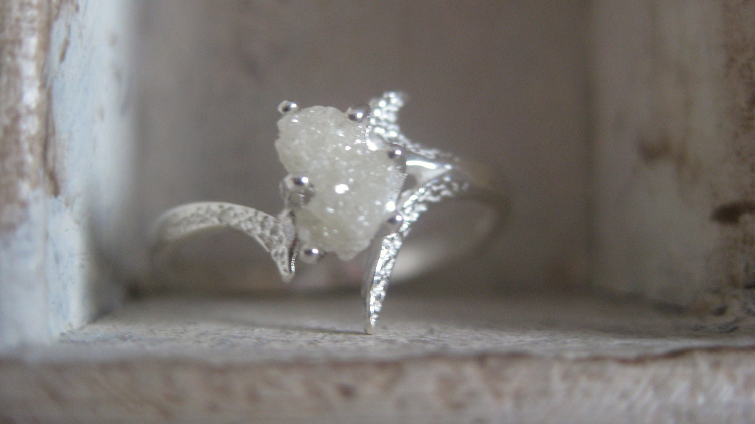 Snow White-Raw Rough Uncut Diamond Solitaire By EnzoLuccati