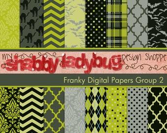 "Franky  Halloween Digital Paper Collection Group 2: 16 Individual 12x12"" 300 dpi digital scrapbook backgrounds"