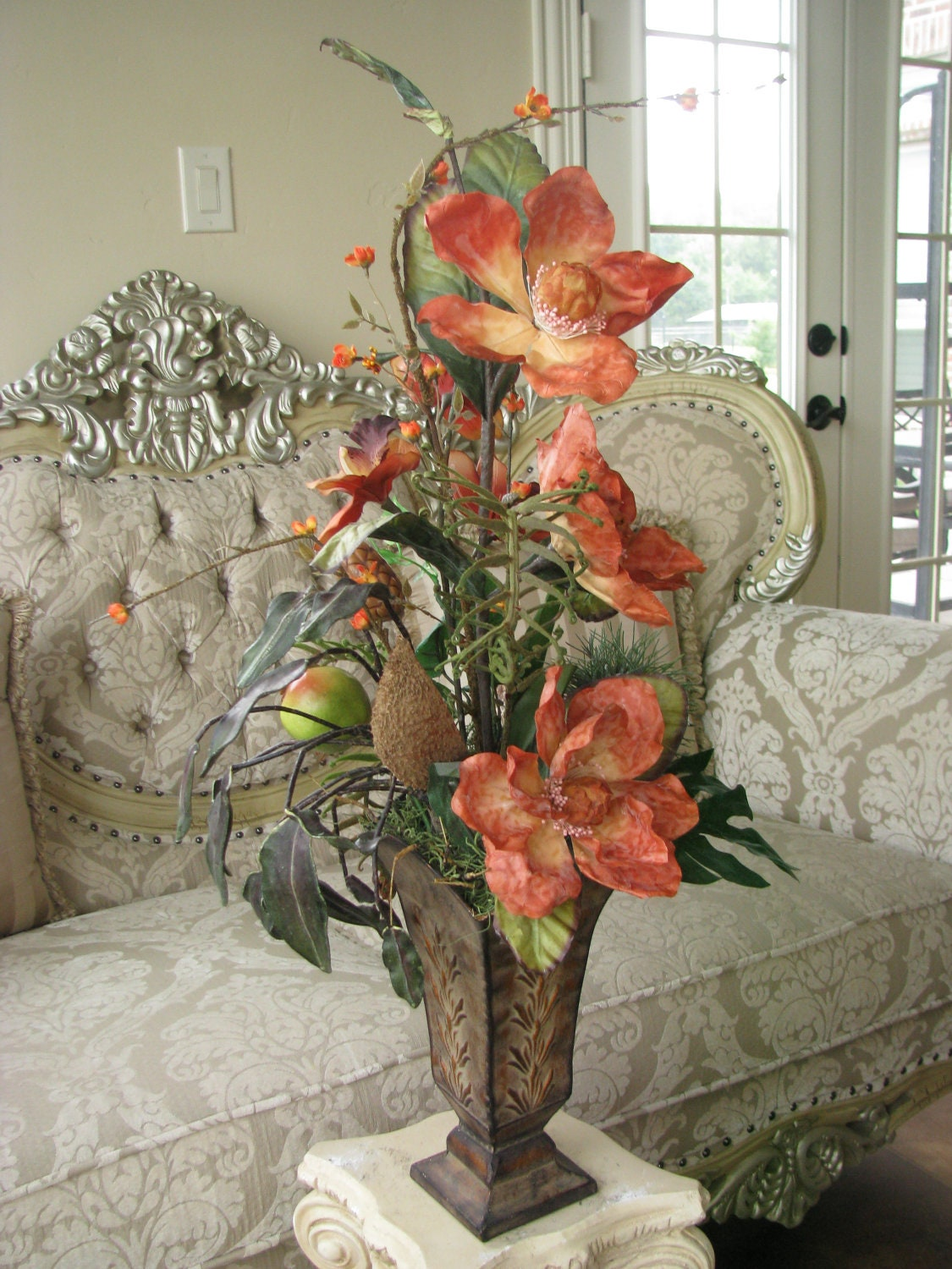 Sale 40 off silk flower arrangement orange by for Dining table centerpieces for sale