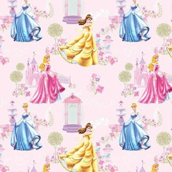Reserved for Melody - 2.5 yards Disney Princess Traditional Shimmering Beauty Scenic Cotton Fabric by Springs Creative