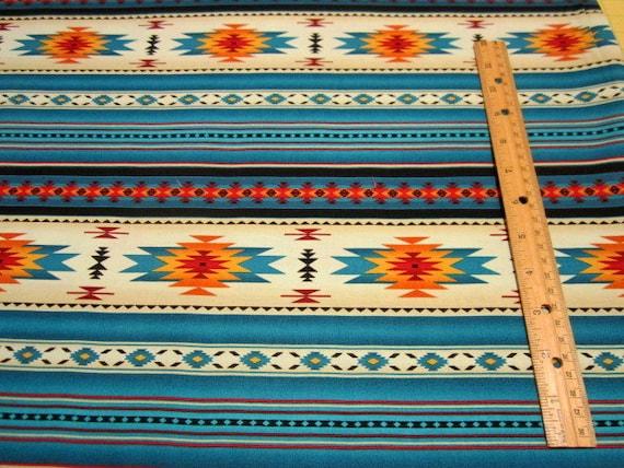 Southwest Tucson Turquoise Indian Blanket Stripe Fabric by Elizabeth's Studio BTY