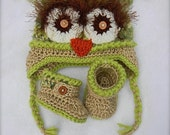 New baby gift set Owl green with brown