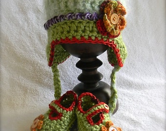Baby gift set green purple and red
