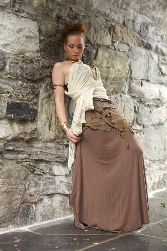 Brown Victorian cotton lycra skirt.