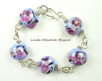 Silver Bracelet of Blue & Rose Lampwork Beads