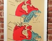 Canada Map Silkscreen Print Seafoam and Red