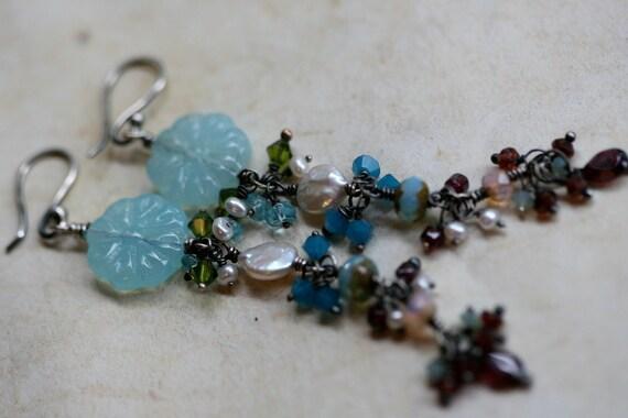 Something Blue earrings-Flower,Rustic Jewelry, Earthy, Earth, Garden, Allegoric,Blue,Glass, Mied Beads
