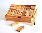 Domino game pieces , Handmade Wooden domino , wooden box , wooden gifts