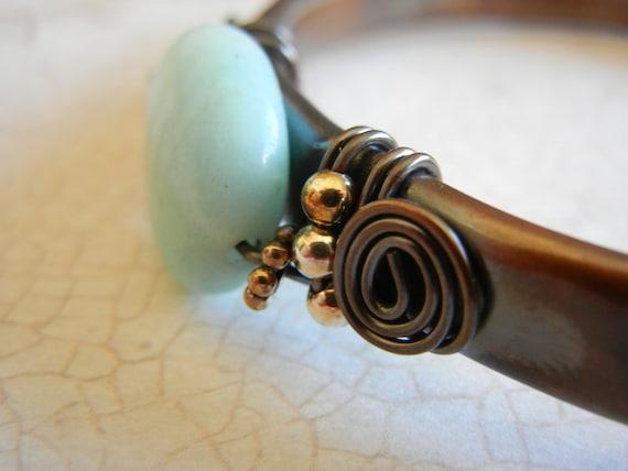 Amazonite Copper Cuff, Upcycled Copper Cuff Bracelet, Blue Stone and Copper Cuff