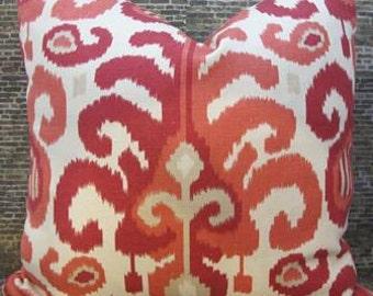 Designer Pillow Cover - 16 x16, 18 x 18, 20 x 20 Duralee Ikat Raspberry