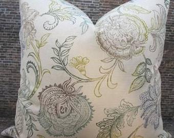 Designer Pillow Cover - Lumbar, 16 x 16, 18 x 18, 20 x 20 Linen Multi Floral Print - Teal