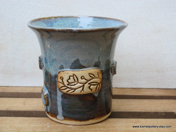 Ceramic Utensil or Pen Holder // Vase in Rustic Blue