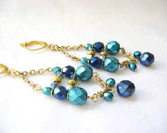 Chain Chandelier Earrings, Aqua Blue and Gold Czech Bead Earrings, Bohemian, Boho Earrings, Blue and Gold Party Jewelry, Fashion Earrings