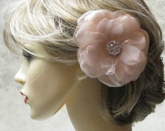 Wedding Hair Accessories, Bridal Hair Flower Clip or Brooch, Peach, Satin and Organza, Swarovski Crystal center
