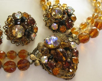 Vintage 1950s Beaded Topaz Necklace Bracelet Earrings - Fall Bridal Fashions