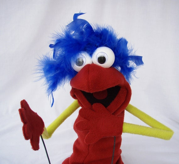 Hand Puppet- Red and Yellow with Rod Arms Google Eyes Moving Mouth