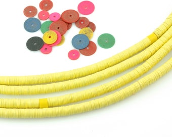 Pastel Yellow African Vinyl Record Beads, 6mm, Bright Summer Jewelry Making Supply, Disc Heishi Beads for Jewelry, Tribal Gypsy Boho Fashion