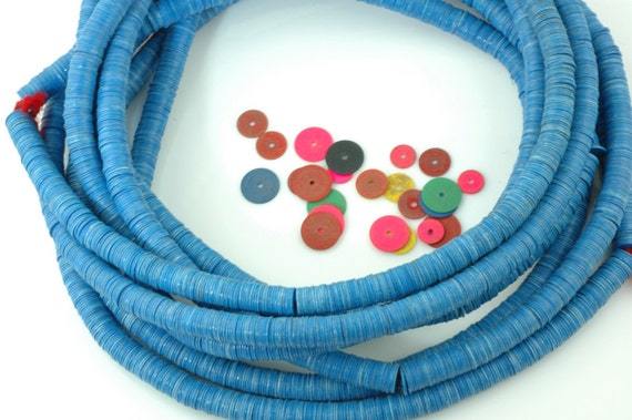 Custom Listing for Kimberly: African Vinyl (Vulcanite) Phono Record Disc Beads, Royal Blue, 8x.5mm