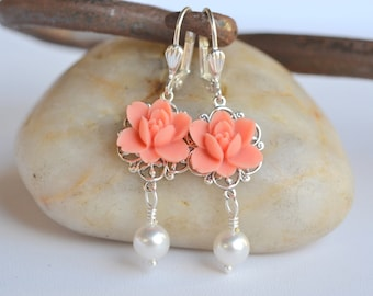 Coral Lotus Flower and White Swarovski Pearl Dangle Earrings Jewelry Gift for Her.  .