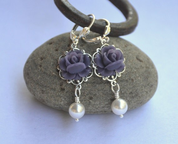 Deep Purple Rose and White Swarovski Pearl Dangle Earrings Jewelry Gift for Her.  Free Shipping.
