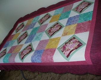 Diamond Pink Flower Bouquet Lap Quilt