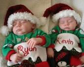 Christmas - Santa Hats - Crochet Santa Hats - Santa Stocking Hats -Twins - Photo Props Newborn to 3 months - READY TO SHIP