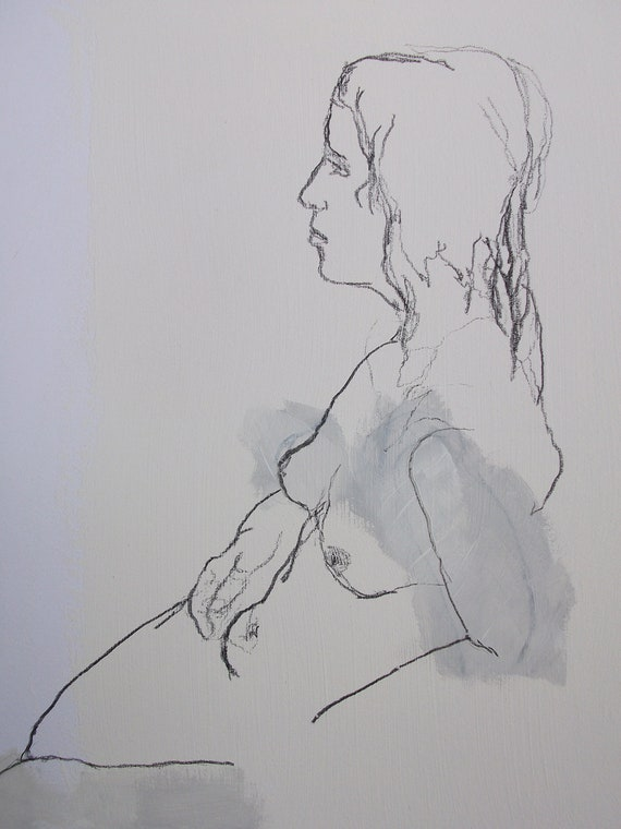 FEMALE NUDE # 4 charcoal drawing nude woman // original art on paper