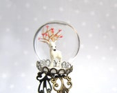 Christmas ring : deer with red stars on antlers-Terrarium ring. Fantasy Miniature