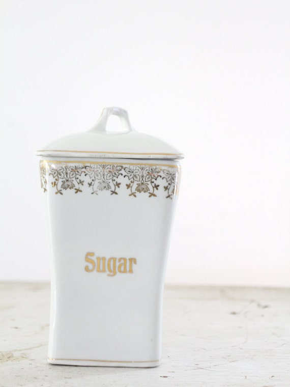 1920s Sugar Canister / German Ceramic Container / Vintage Kitchen