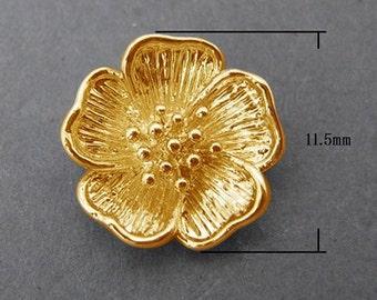 4pcs Golden Flower Pendant. 3D Flower Gold Pendant. Lead, Nickel Free Brass Pendants - 11.5mm