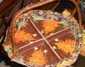 V intage Chinoiserie antique Satsuma moriage  bamboo handled serving plate