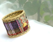 SILK CUFF, Eco - Friendly Jewellery, Embroidered Bracelet, Purple Red, Women Accessory, Gift Idea