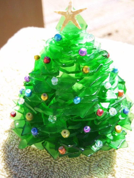 Large green or white sea glass christmas tree by