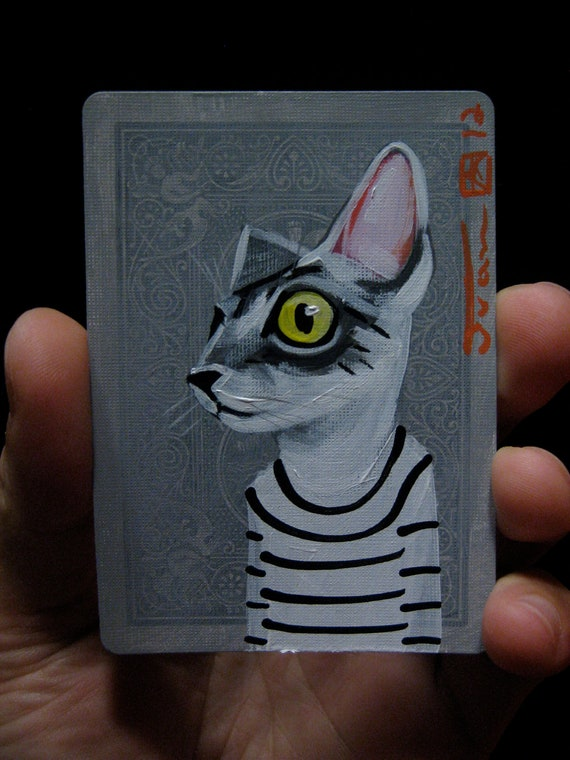 Cat portrait N76 on a playing cards. Original acrylic painting. 2012